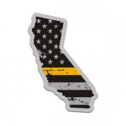 California State Gold Line Decal CA Tattered American Flag Sticker