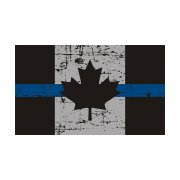 Tattered Thin Blue Line Canada Subdued Flag Canadian Sticker Decal