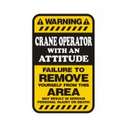 Crane Operator Warning Yellow Decal Vinyl Hard Hat Window Sticker