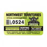 "Northwest Territories Zombie Hunting Permit 4"" Sticker Decal"