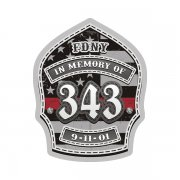 9/11 Memorial 343 Firefighter Shield Thin Red Line American Flag Sticker Decal