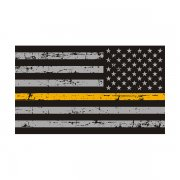 Tattered Thin Gold Line American Subdued Flag Sticker Decal (LH)