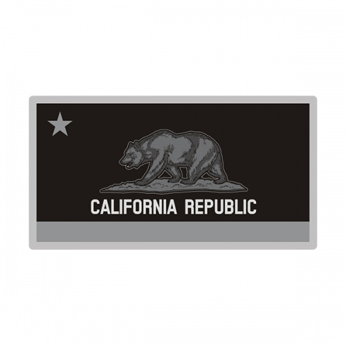 California Sticker Decal Vinyl State Subdued Gray Black Flag CA V3