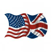 American British Waving Flag Decal USA Union Jack Britain Sticker (RH)
