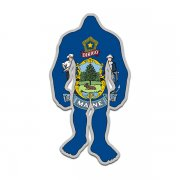 Maine State Flag Bigfoot Decal ME Sasquatch Big Foot Sticker