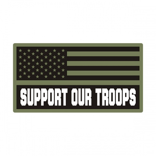 American Support Our Troops Green Black OD Subdued Flag Decal Sticker V3