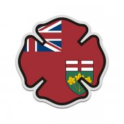 Ontario Flag Firefighter Decal ON Fire Rescue Maltese Cross Sticker