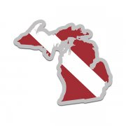Michigan State Shaped Dive Flag Decal MI Map Vinyl Sticker