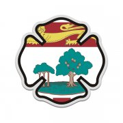 Prince Edward Island Flag Firefighter Decal PE Fire Maltese Cross Sticker