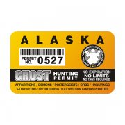 "Alaska Ghost Hunting Permit 4"" Sticker Decal"