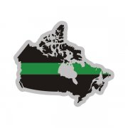 Canada Map Thin Green Line Decal Military Border Patrol Sticker