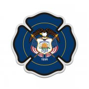 Utah State Flag Firefighter Decal UT Fire Rescue Maltese Cross Sticker