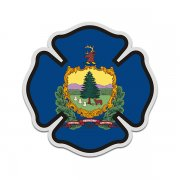 Vermont State Flag Firefighter Decal VT Fire Rescue Maltese Cross Sticker