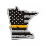 Minnesota State Thin Gold Line Decal MN Tattered American Flag Sticker