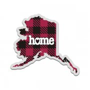 Alaska State Buffalo Plaid Decal AK Checkered Home Map Vinyl Sticker