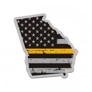 Georgia State Thin Gold Line Decal GA Tattered American Flag Sticker