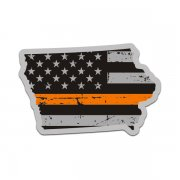 Iowa State Thin Orange Line Decal IA Tattered American Flag Sticker