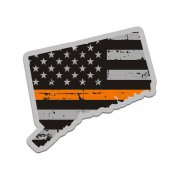Connecticut State Orange Line Decal CT Tattered American Flag Sticker