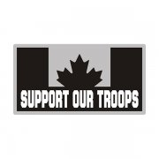 Canada Support Our Troops Gray Black Subdued Flag CA Decal Sticker V3