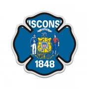 Wisconsin State Flag Firefighter Decal WI Fire Rescue Maltese Cross Sticker