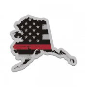 Alaska State Thin Red Line Decal AK Tattered American Flag Sticker