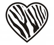 Heart Zebra Animal Skin Print Sticker Decal