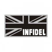 British Union Jack Subdued Blk/Gray Flag Infidel Sticker Decal