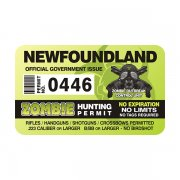 "Newfoundland Zombie Hunting Permit 4"" Sticker Decal"