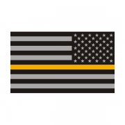 Thin Gold Line American Subdued Flag Sticker Decal (LH)
