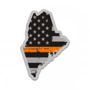 Maine State Thin Orange Line Decal ME Tattered American Flag Sticker