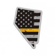 Nevada State Thin Gold Line Decal NV Tattered American Flag Sticker