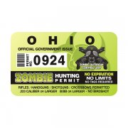 "Ohio Zombie Hunting Permit 4"" Sticker Decal"