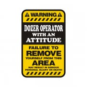Dozer Operator Warning Yellow Decal Vinyl Hard Hat Window Sticker
