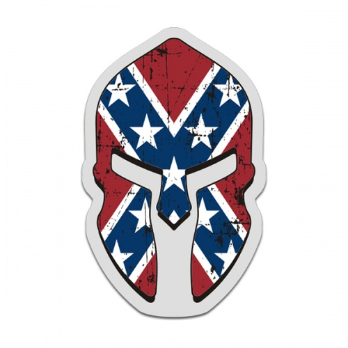 Confederate Rebel Flag Spartan Helmet Decal Southern Dixie Sticker