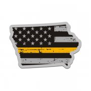 Iowa State Thin Gold Line Decal IA Tattered American Flag Sticker
