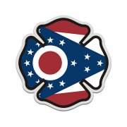 Ohio State Flag Firefighter Decal OH Fire Rescue Maltese Cross Sticker