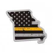 Missouri State Thin Gold Line Decal MO Tattered American Flag Sticker