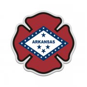Arkansas State Flag Firefighter Decal AR Fire Rescue Maltese Cross Sticker