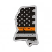 Mississippi State Orange Line Decal MS Tattered American Flag Sticker