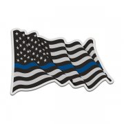 Thin Blue Line American Subdued Waving Flag USA Decal Sticker (RH) V4