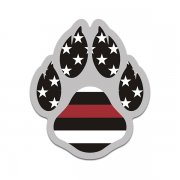 K-9 Paw American Flag Thin Red Line Arson Detection K9 Unit Sticker Decal V2