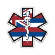 Hawaii State Flag Star of Life HI EMT Paramedic EMS Sticker Decal
