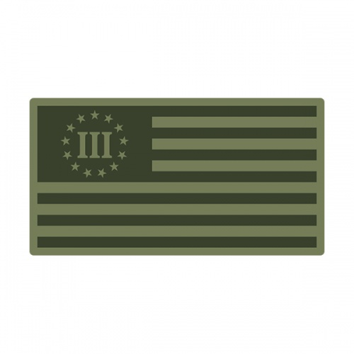 3 Percent Olive OD Green Subdued Flag Nyberg Percenter Decal Sticker (RH) V3