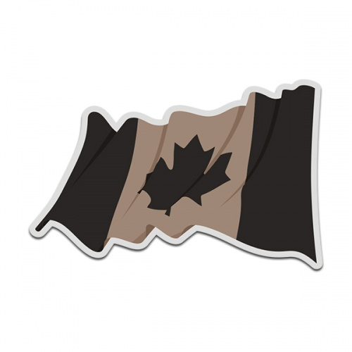 Canada Desert Tan Black Subdued Waving Flag Canadian Decal Sticker (LH) V4