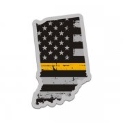 Indiana State Thin Gold Line Decal IN Tattered American Flag Sticker