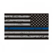 Tattered Thin Blue Line American Subdued Flag Sticker Decal (LH)