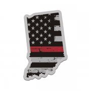 Indiana State Thin Red Line Decal IN Tattered American Flag Sticker
