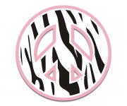 Peace Symbol Zebra Animal Print Sticker Decal Pink Border v2