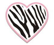 Heart Zebra Animal Skin Print Sticker Decal Pink Border v2