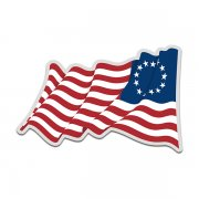 American Revolution Betsy Ross Waving Flag United States Decal Sticker (LH) V4